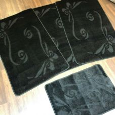ROMANY GYPSY WASHABLES SETS OF TOURER SIZE 67X110CM MATS-RUGS NEW BOWS BLACK